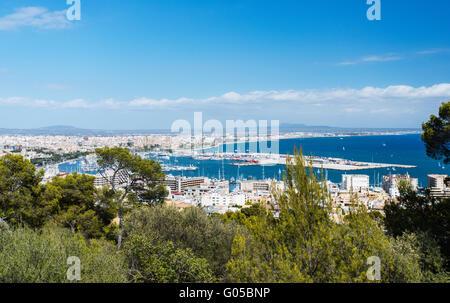 Aerial view of Palma de Mallorca in Majorca Balearic islands - Stock Photo