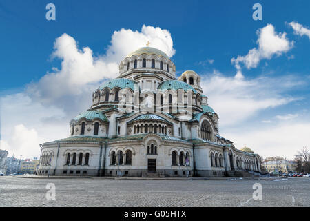 General view of famous Bulgarian Orthodox church of Alexander Nevsky Cathedral built in 1882 in Sofia, Bulgaria, - Stock Photo