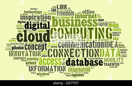 Cloud computing pictogram on green background - Stock Photo