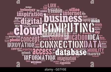 Cloud computing pictogram on pink background - Stock Photo