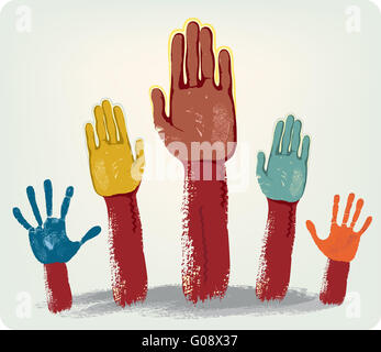 Voting hands isolated isolated on grey background - Stock Photo