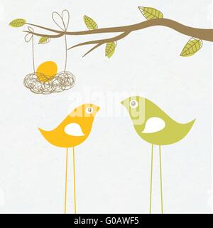 Baby arriving card with birds family and egg in the nest - Stock Photo