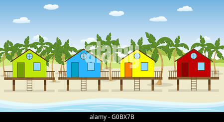Colorful houses on the beach - Stockfoto