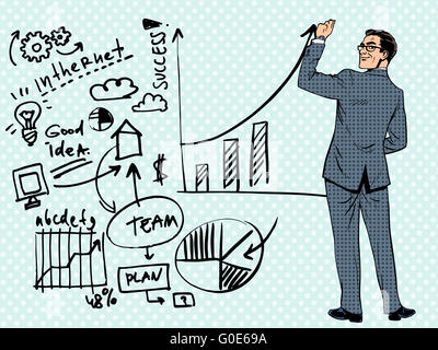 Businessman drawing business concept of success - Stock Photo