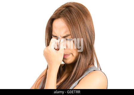 Close Up Frowning Asian Woman Headache - Stockfoto