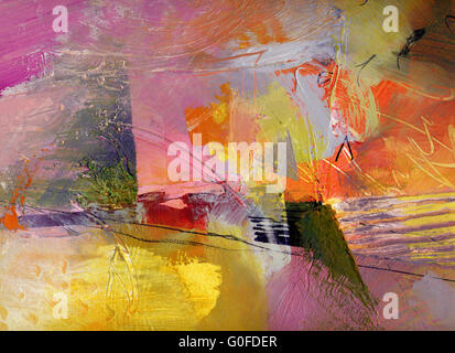 hand painted colorful textures - Stock Photo
