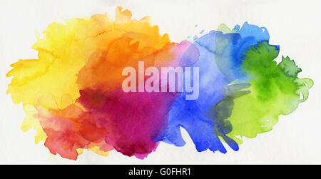 hand painted rainbow watercolor on paper - Stock Photo