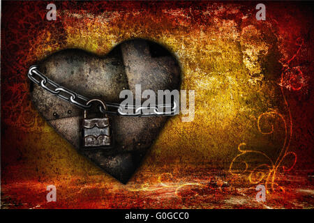Valentine card with iron hearts in grunge style - Stock Photo