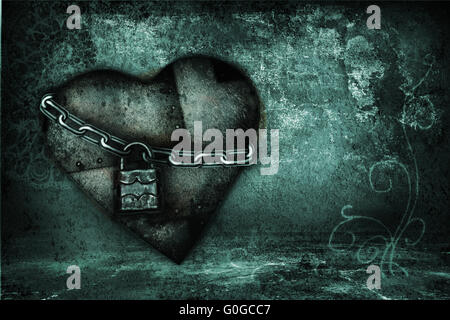 Valentine card with iron hearts in grunge style in blue tones - Stock Photo