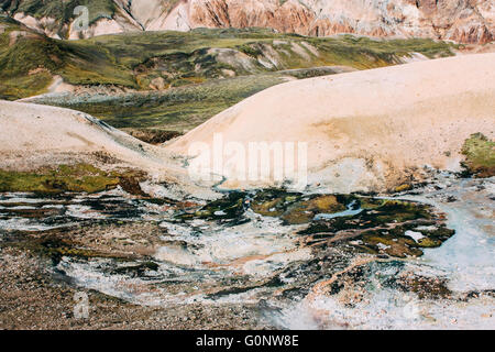 Icelandic landscape. Beautiful mountains and volcanic area - Stock Photo