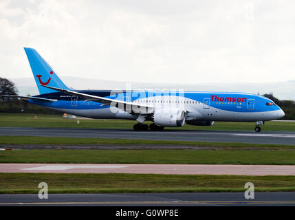 Thomson Airways Boeing 787-8 Dreamliner Airliner G-TUIG Taking Off at Manchester International Airport England United - Stock Photo