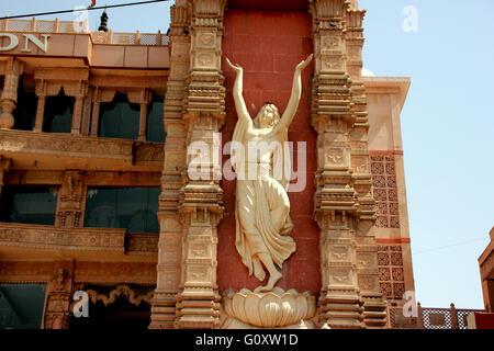 ISKCON temple Noida, Uttar Pradesh, India, magnificent temple dedicated to Lord Krishna with Golden chariot on raised - Stock Photo