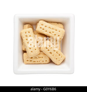 Shortbread biscuits in a square bowl isolated on white background - Stock Photo