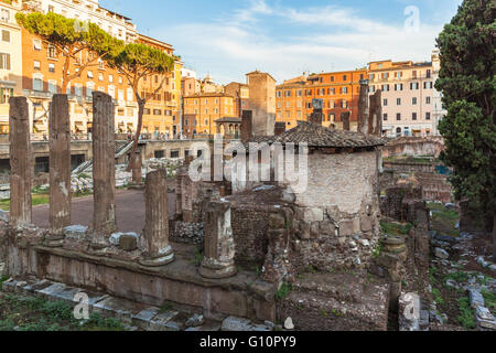 view of ancient rome ruins at the square Largo di Torre Argentina in sunset, Rome, Italy - Stock Photo