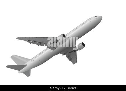 Picture of jet airplane that is taking off on white background - Stock Photo