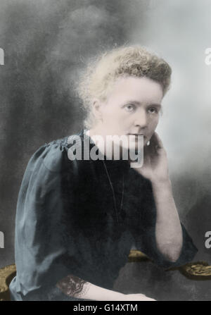 Marie Curie (1867-1934) was a Polish-French physicist and chemist famous for her pioneering research on radioactivity. - Stock Photo