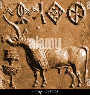 A seal with a unicorn relief, found in Mohenjo-Daro (Mound of the Dead) one of the largest city-settlements in the - Stock Photo