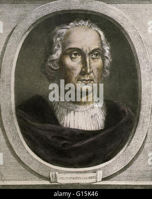 Christopher Columbus (October 30 or 31, 1451 - May 20, 1506) Italian explorer, colonizer, and navigator credited - Stock Photo