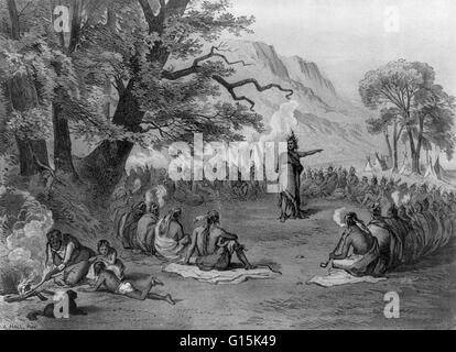 Lithograph entitled: 'Indian chief in council informing his tribe of the arrival of strangers in ships (Columbus)'. - Stock Photo