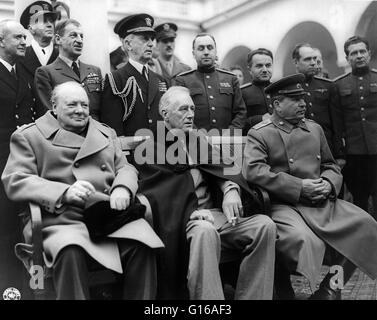 Yalta Conference. Prime Minister Winston Churchill, President Franklin D. Roosevelt, and Marshal Joseph Stalin at - Stock Photo