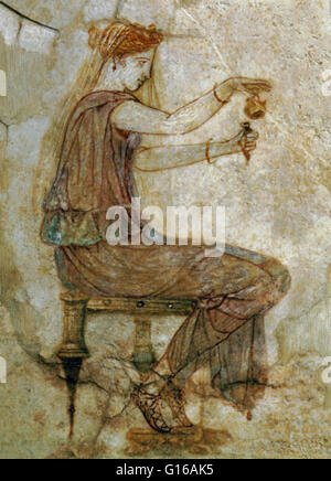 Woman pouring perfume into a flask from the Villa Farnesina, 10 AD. Perfumery, or the art of making perfumes, began - Stock Photo