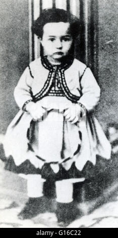 Toulouse-Lautrec photographed at the age of 3. Henri de Toulouse-Lautrec (November 24, 1864 - September 9, 1901) - Stock Photo