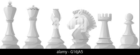 White pieces of chess in classic design - Stock Photo