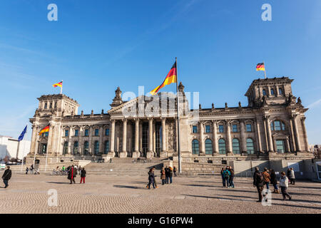 German Parliament Building Reichstag in Berlin, 1882 Paul Wallot architect, Glass dome by sir Norman Foster in 1992, - Stock Photo