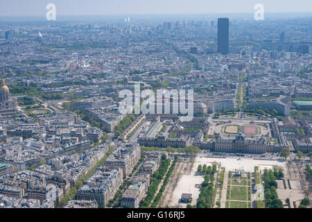 Aerial view of Parc du Champs de Mars and the city of Paris, taken from the top of the Eiffel Tower, looking southeast - Stock Photo