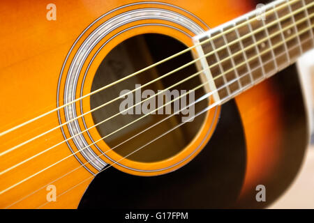 Detail of a wooden acoustic guitar taken with a Fujifilm X100T - Stockfoto
