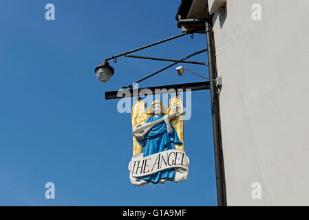 Pub sign of the Angel Hotel in the village of Lavenham, Suffolk, England UK - Stock Photo