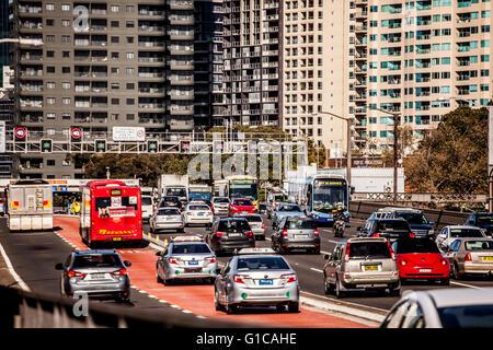 Sydney, Australia - May 15, 2015: Rush hour traffic on an expressway leading into Sydney, Australia - Stock Photo