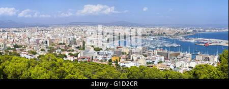 High resolution aerial panorama of Palma de Majorca, Spain - Stock Photo