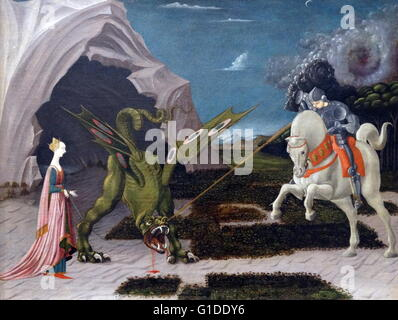 Painting titled 'Saint George and the Dragon' by Paolo Uccello (1397-1475) an Italian painter and a mathematician. - Stock Photo