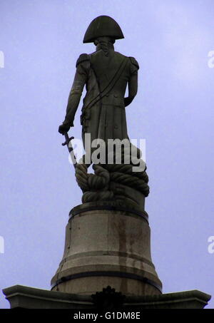 Nelson's Column, a monument in Trafalgar Square, London. Dated 21st Century - Stock Photo