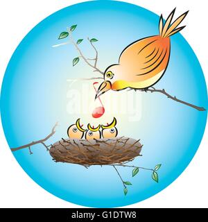 vector illustration of a bird feeding the hungry chicks with a musical note in the nest - Stock Photo