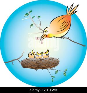 vector illustration of a bird feeding the hungry chicks with a earthworm in the nest - Stock Photo