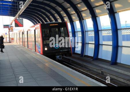 Docklands Light Railway train at City Airport station, London, England, UK - Stock Photo