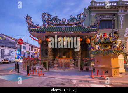 Dusk view of the Choo Chay Keong Temple adjoined to Yap Kongsi clan house, Armenian Street, George Town, Penang, - Stock Photo