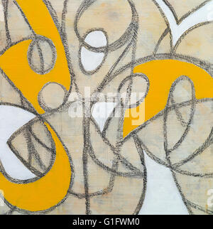 an abstract drawing with pencil lines and painted areas - Stock Photo