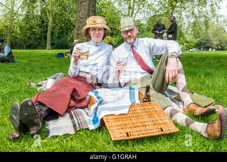 London, United Kingdom - May 14, 2016: Tweed Run (bicycle ride with a style) at picnic near Albert Memorial in Kensington - Stock Photo