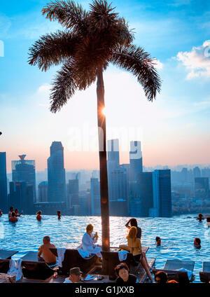 Infinity pool at Marina Bay Sands Hotel, Singapore - Stock Photo