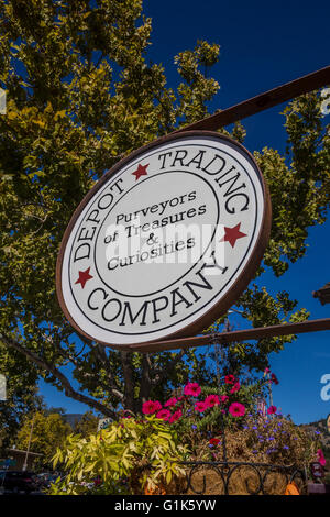 Sign for Depot Trading Company along Lincoln Avenue in the town of Calistoga in the Napa Valley in Napa County California - Stock Photo