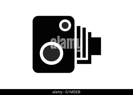 Road, security or surveillance camera sign or motif in black isolated on white. - Stock Photo