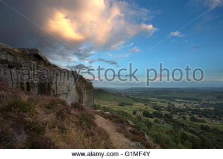 Sunset at Curbar Edge. Peak District, Derbyshire, UK - Stock Photo