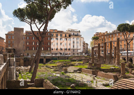 Rome, Italy.  Largo di Torre Argentina.  Ruins dating to the ancient Roman Republic. - Stock Photo