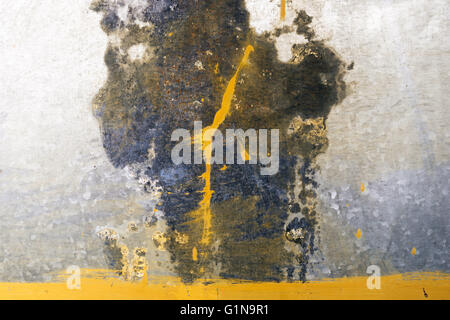 Rusty metal texture with yellow stains - Stock Photo