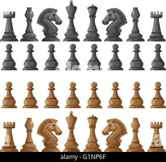 Chess set pieces on white illustration - Stock Photo