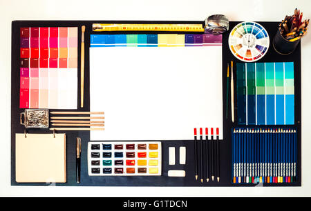 Flat lay of Interior designer and architect working space, space for text. - Stock Photo