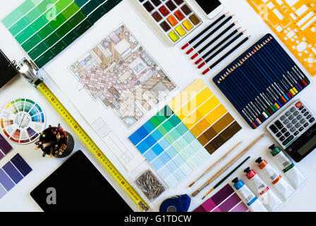 Flat lay of Interior designer and architect working space. Flatlay view, grid with alternate angle - Stock Photo